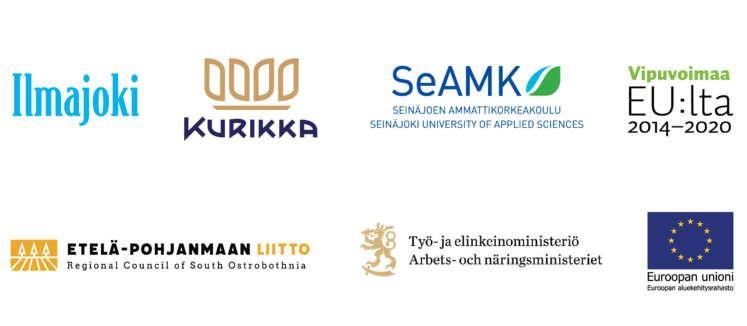 Yhteistyössä mukana Ilmajoki, Kurikka, Seinäjoen Ammattikorkeakoulu, Vipuvoimaa EU:lta 2014-2020, Etelä-Pohjanmaan Liitto, Työ- ja elinkeinoministeriö ja Euroopan aluekehitysrahasto.