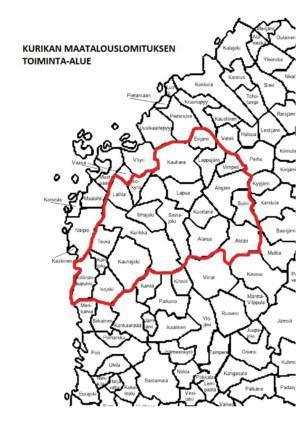 Kartta lomituksen toiminta-alueesta